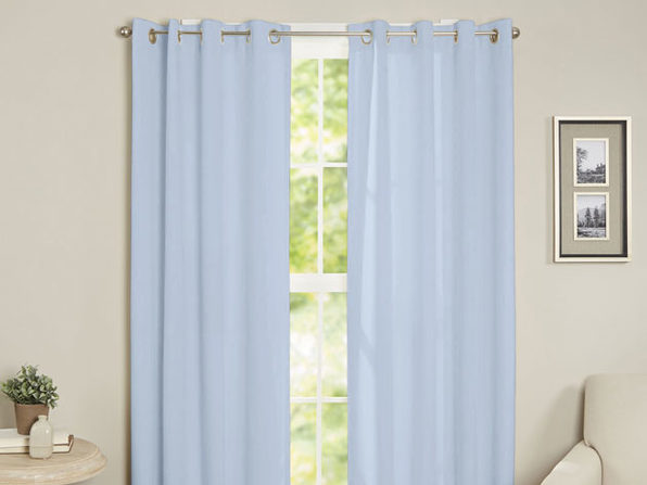 Maria Thermal Blackout Grommet-Top Curtain: 2 Panels (Baby Blue)