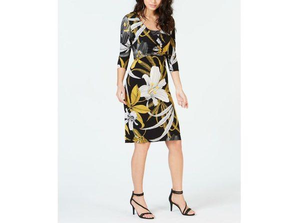 Thalia Sodi Women's Printed Shift Dress Gold Floral Size Large