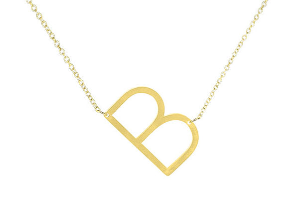14K Gold Plated Letter Necklace - B - Product Image