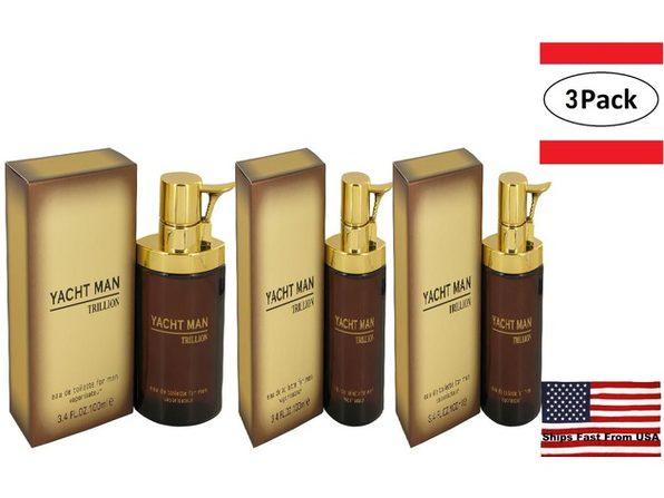 3 Pack Yacht Man Trillion by Myrurgia Eau De Toilette Spray 3.4 oz for Men - Product Image