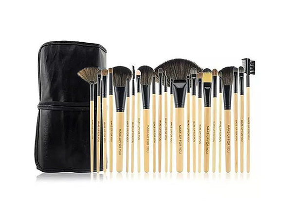 24 Piece High Quality Makeup Brush Set (Natural)