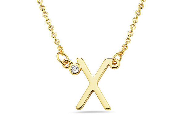 18K Gold Plated CZ Initial Necklaces - X - Product Image