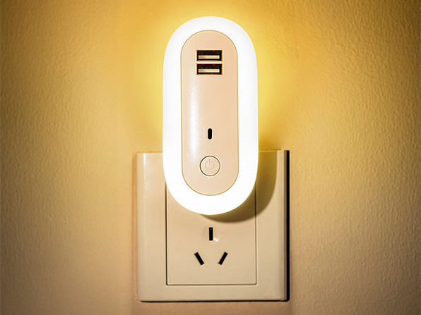 Oval Remote Control Dual USB Socket Night Light
