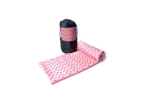 Non-Slip Yoga and Pilates Towels with Bag (Pink) - Product Image