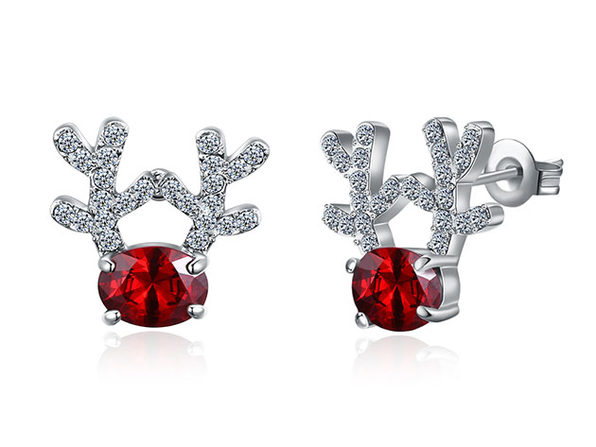 Reindeer Stud Earrings Ft. Red & White Swarovski (White Gold)