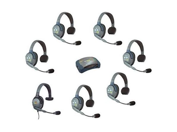 Eartec HUB7SMXS - 7 Person System with 6 Single Wireless Communication Headsets