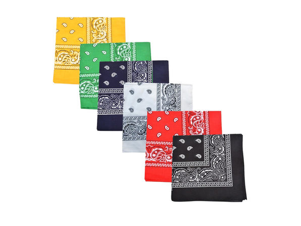 Pack of 6 Paisley 100% Cotton Bandanas Novelty Headwraps - 22 inches - Black