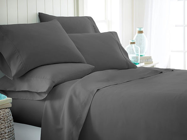 Home Collection Premium Ultra Soft 6-Piece Bed Sheet Set (Gray/King)