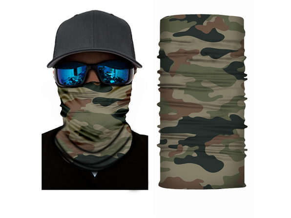 Jordefano Face Cover Mask Neck Gaiter with Dust UV Protection Tube Neck Warmer- Pack of 5 - Camouflage