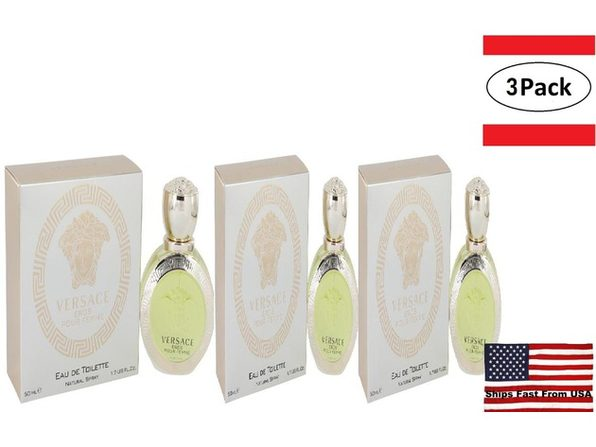 3 Pack Versace Eros by Versace Eau De Toilette Spray 1.7 oz for Women