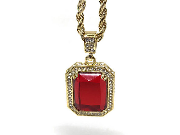 Gold Plated Red Ruby Necklace