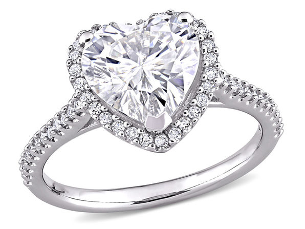 3.00 Carat (ctw) Lab-Created Moissanite Heart Engagement Ring in 14k White Gold with 1/4 carat (ctw) Diamonds (G-H, I1;I2) - 5