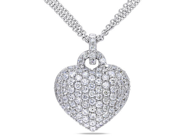 Lab Created White Sapphire 3.50 Carat (ctw) Heart Pendant Necklace in Sterling Silver