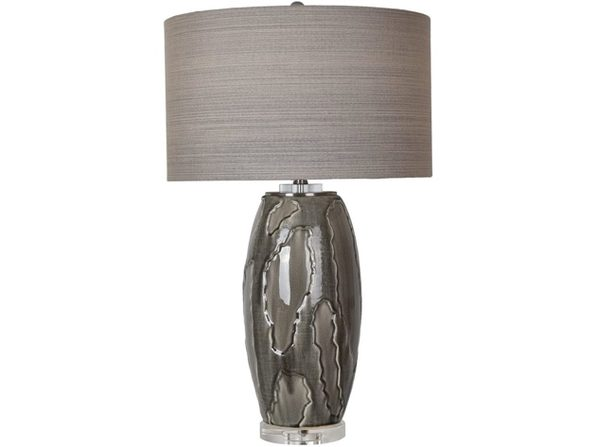 Crestview CVAP2052 Collection Pompe Grey Multi Obsidian Ceramic Table Lamp (Used, Damaged Retail Box) - Product Image