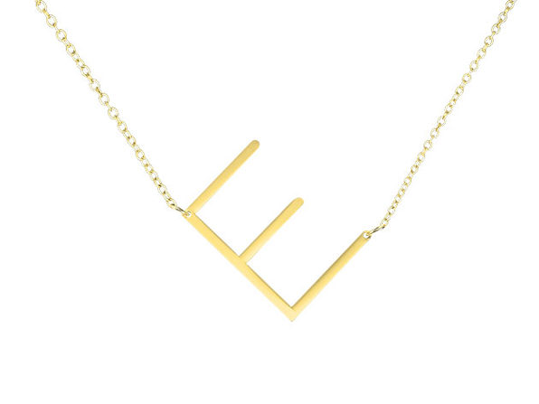 14K Gold Plated Letter Necklace - E - Product Image