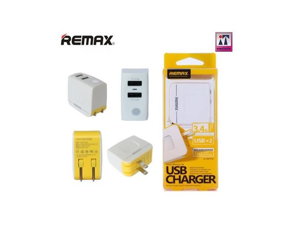 Remax 3.4A Dual USB Port Universal Travel Charger, White / Black