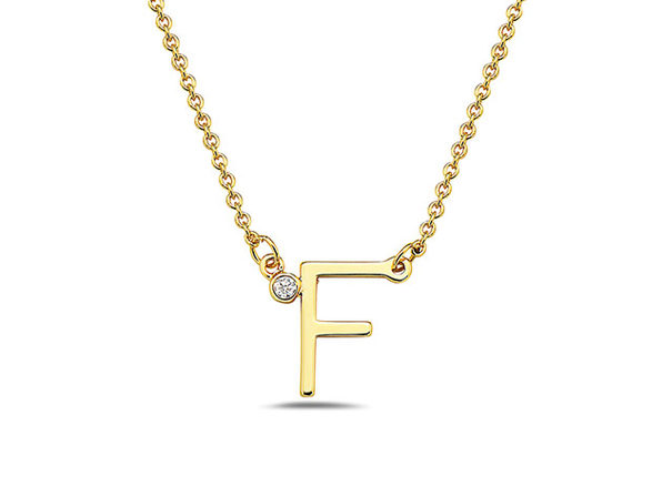 18K Gold Plated CZ Initial Necklaces - F - Product Image
