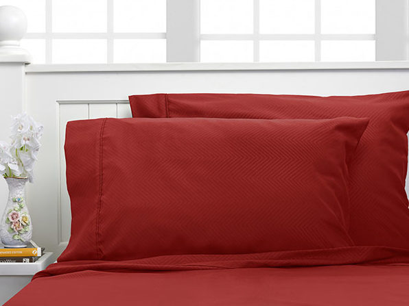 Bamboo 4-Piece Chevron Embossed Sheets - Burgundy Twin - Product Image