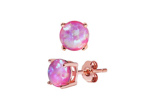 A&M Sterling Silver Opal Stud Earrings (Pink)