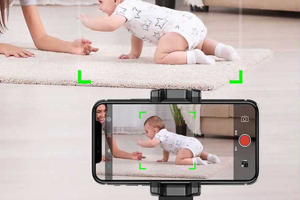 A phone app capturing a baby crawling