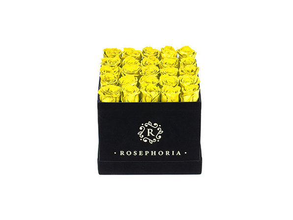 24 Rose Square Box - Yellow - Product Image