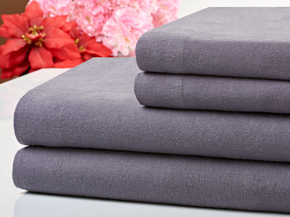 Bibb Home 100% Cotton Flannel Grey Sheet Set