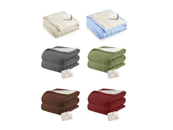 Pure Warmth by Biddeford MicroPlush Sherpa Analog Electric Blanket Twin Full Queen King - Claret