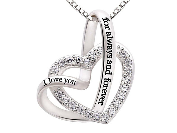 """I Love You Forever and Always"" Heart Necklace with Swarovski Crystals"