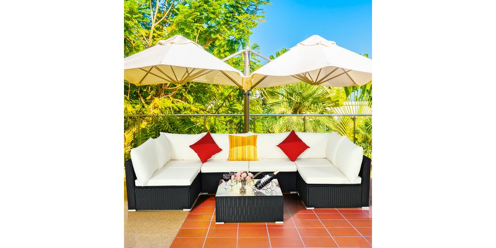 7-Piece Rattan Sofa, Corner Table & Coffee Table Set