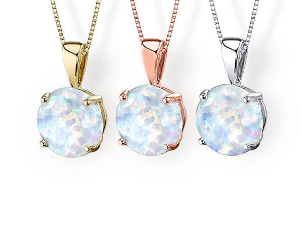 Opal-like Pendant Drop Necklace