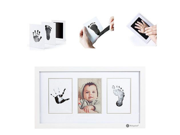 Four distinct images showing baby hand and foot prints