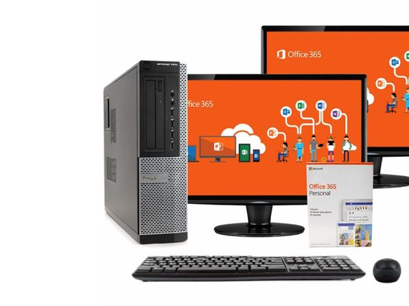 "Dell 7010 Desktop PC Intel i5-3470 3.2GHz, 16GB RAM, 512GB SSD, Windows 10, Microsoft Office 365 Personal, Dual 17"" LCDs, Wireless Keyboard & Mouse, New 16GB Flash Drive (Renewed)"