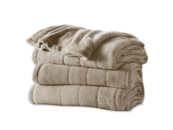 Sunbeam Channeled Soft Microplush Electric Heated Warming Blanket Full Mushroom Washable Auto Shut Off 10 Heat Settings - Mushroom