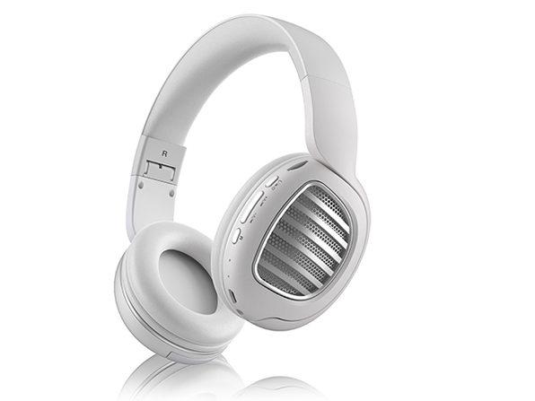 Aduro KeyNote Foldable Wireless Headphones (White/Silver)