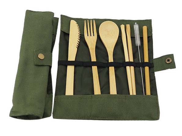 Bamboo Travel Cutlery Set (Green)