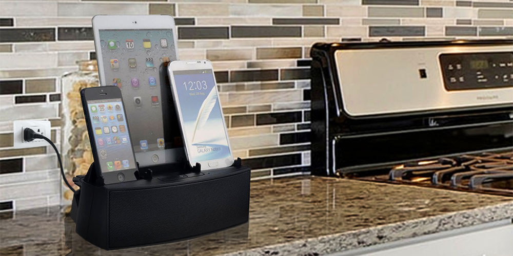 A charging deck for wireless devices on a kitchen counter