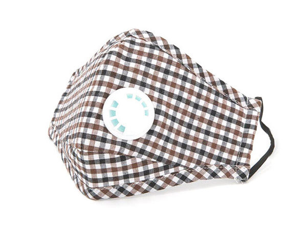 Non-Medical Cotton Mask with 2 filters - Brown Plaid - Product Image