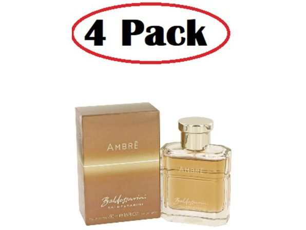 4 Pack of Baldessarini Ambre by Hugo Boss Eau De Toilette Spray 1.7 oz - Product Image