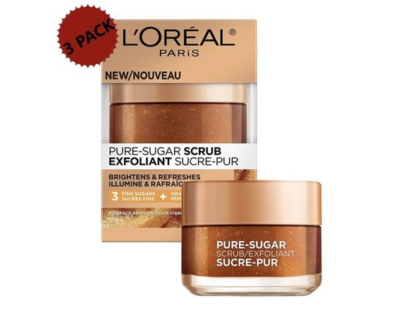 3-PACK L'Oreal Paris Pure-Sugar Scrub With Three Fine Sugars and Grapeseed, For Dull Skin, Face and Lips, 1.7 oz. each (5.1 oz.)