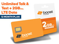 Boost Mobile Prepaid: Unlimited Talk & Text + 2GB LTE Data (12-Month Subscription) - Product Image