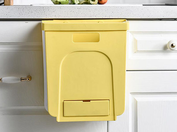 Kitchen Hanging Foldable Trash Can (Cream)