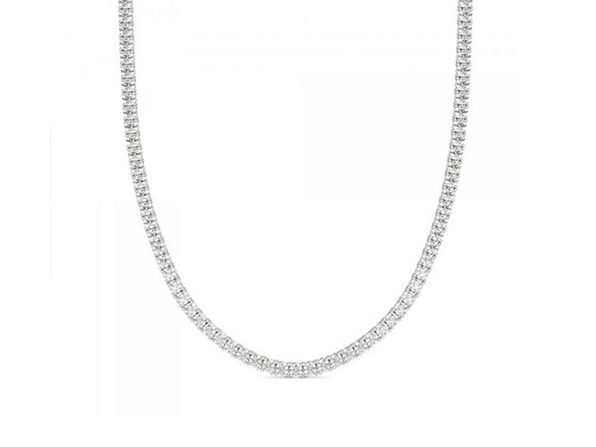 """3mm Round Cut Tennis Necklace with White Stones (20"""")"""