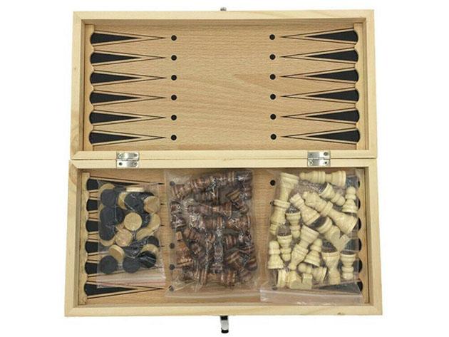 A folding chess and backgammon set
