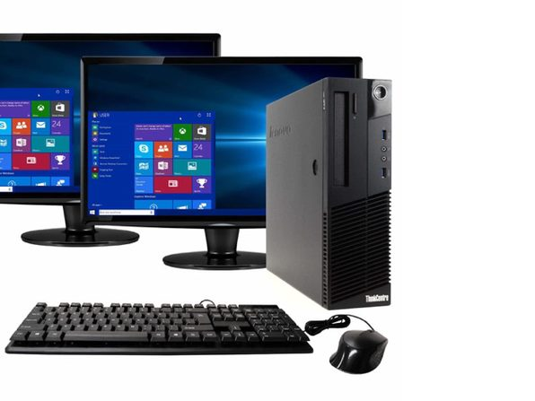 "Lenovo ThinkCentre M93 Desktop PC, 3.2GHz Intel i5 Quad Core Gen 4, 16GB RAM, 240GB SSD, Windows 10 Home 64 bit, Dual (2) 22"" Screens (Renewed)"