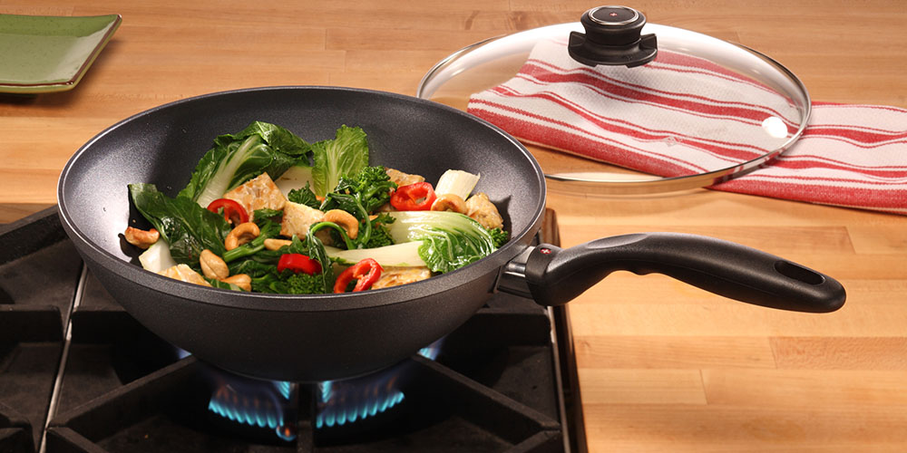 Vegetables cooking in a fry pan