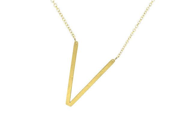 14K Gold Plated Letter Necklace - V - Product Image
