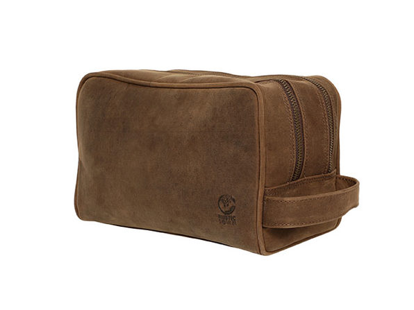 Genuine Leather Travel Dopp Kit Organizer (Dark Brown)