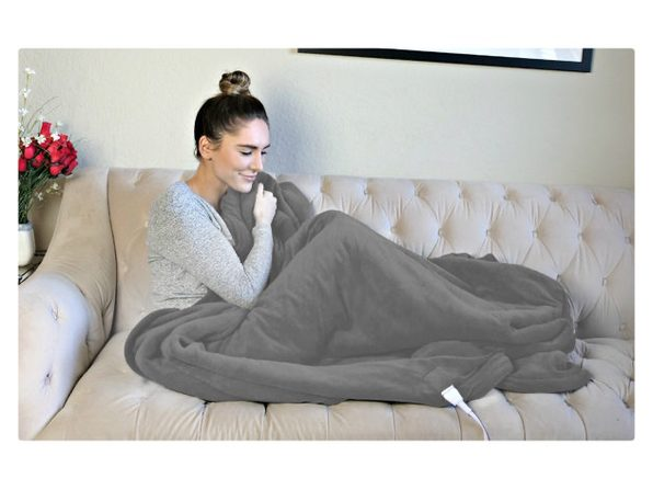 Biddeford Luxuriously Soft Velour and Sherpa Heated Throw Blanket - Charcoal Grey