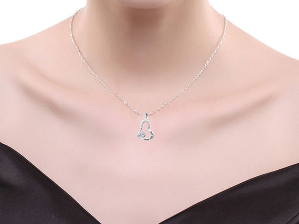 """I Love You Mom"" 18K White Gold Heart Necklace with Swarovski Crystals"