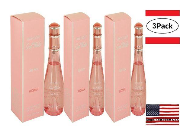 3 Pack Cool Water Sea Rose by Davidoff Eau De Toilette Spray 1.7 oz for Women - Product Image